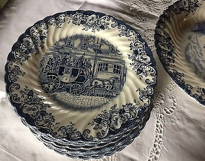 6 Assiettes (12)Plate Johnson Brother Bros Dinner Plate Coaching Scenes