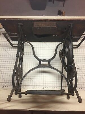 Domestic Antique Industrial Cast Iron Treadle Sewing Machine Table w/Top 1870's