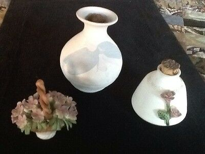 Collectible,Vintage,3x Australian Pottery-2xScented Perfume Vases+Floral Basket