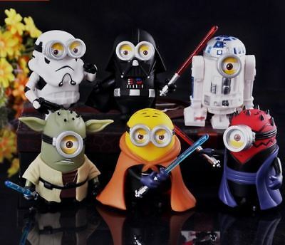 Minions Star Wars 6 Pcs Toy Set 8cm Pvc Cosplay Action Figures