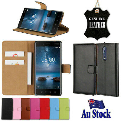 Genuine Leather Wallet Flip PU Case Cover For Nokia 2.1 3 3.1 5 6 6.1 7 Plus 8