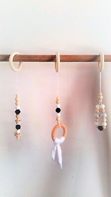 Wooden Activity Baby Play Gym Handmade Natural Wood Neutral Unisex Monochrome