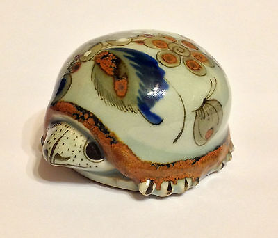 Hand Painted Ceramic Turtle - Floral Pottery - Vintage