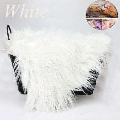 Baby Photo Props Newborn Photography Soft Fur Quilt Photographic Mat White US