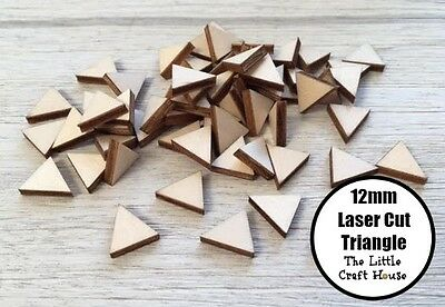 10 x 12mm Wooden Triangle Laser Cut Shape Ply Blank Craft Triangles Wood Shapes