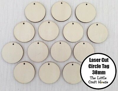 10 x 38mm Wooden Circle Laser Cut Ply Tag Craft Round Wood Flat Disk Hole DIY