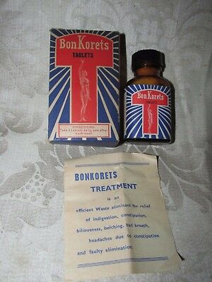 Vintage BON KORETS TABLETS & Bottle w/ Box & Brochure Registered Health Act 1942