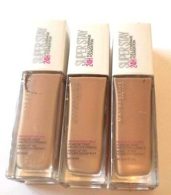 MAYBELLINE SUPER STAY 24H  FULL COVERAGE FOUNDATION 30ml (SQ)- VARIOUS USE MENU
