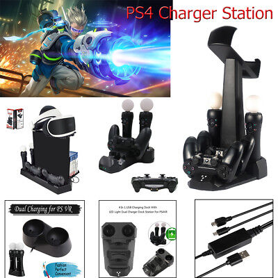 5in1 Dual Charger Stand Holder Charging Station for PS4 VR Playstation 4 Console