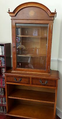 Yew Wood Finish Display Cabinet & Bookcase.