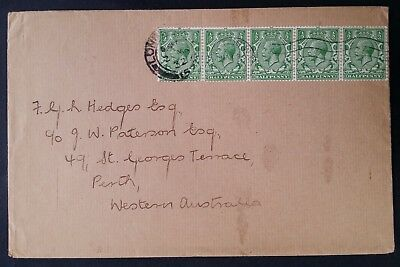 SCARCE 1932 Great Britain Cover ties 5 x 1/2d green KGV stamps canc London