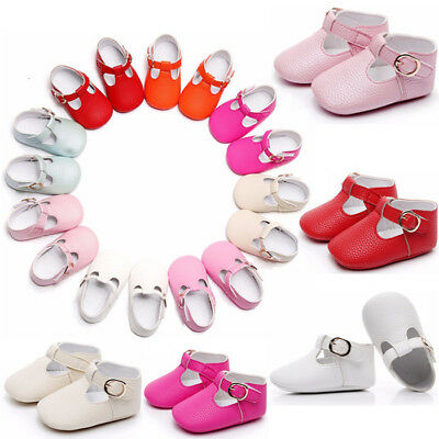 Newborn Baby Infant Girl Soft Sole Crib Shoes Leather Pram Christening Moccasins