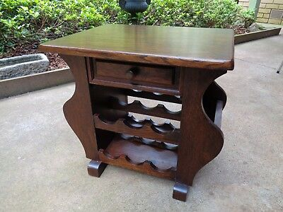 ANTIQUE Vintage Wooden SIDE/COFFEE TABLE with MAGAZINE HOLDER and WINE RACK