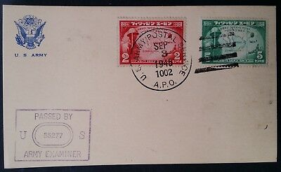 RARE 1945 Philippines (Japanese Occ) US Army Postal Service Postcard w 2 stamps