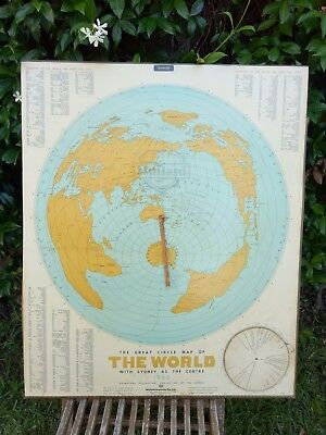 Vintage great circle world map with Sydney at the centre! Pub. 1966, Mallard