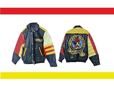 "New Mickey Mouse ""wild Ones"" Real Leather Biker Jackets (S/m/l/xl)"