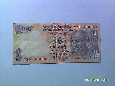 Old India Paper Money Currency - #89 1996 no date 10 Rupees Gandhi Elephant - WC