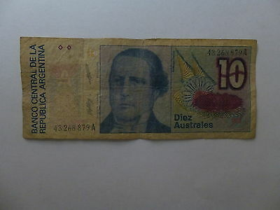 Old Argentina Paper Money Currency - #325b 1986 10 Australes - Well Circulated