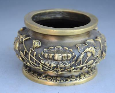 "Chinese old copper hand engraving lotus flower ""Buddha"" Word  incense burner"