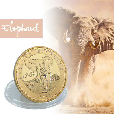 WR 2014 Zambia 10000 Kwacha African Wildlife Elephant GOLD Coin Mint Collection