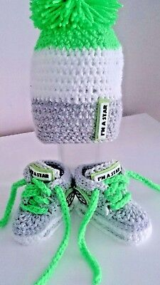 Baby Crochet Trainers And Hat Light Grey White Green Handmade Shoes And Hat