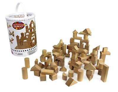 100 Pcs Wooden Building Blocks Wood Block Set with Carrying Container Real Toys