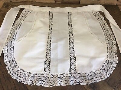 Genuine Antique Vintage French Laced Maid Apron