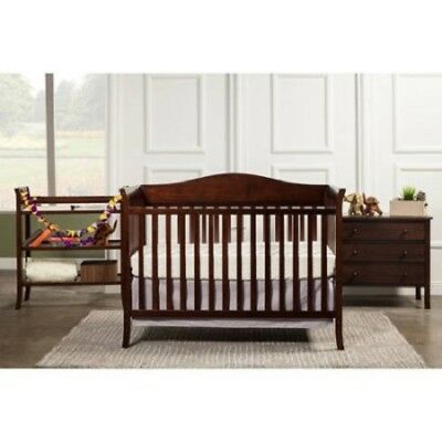 Nursery Furniture Set 4PC Baby Toddler Convertible Crib Bed Wood - Espresso