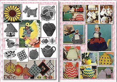 90+ Vintage TEA COZY & POTHOLDER Knitting & Crochet Patterns + more