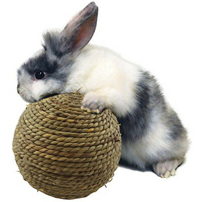 Natural Woven Straw Dried Grass Ball w Bell Pet Rabbit Guinea Pig Chew Toy