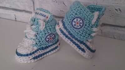 Baby Crochet Shoes First Trainers Blue Cotton