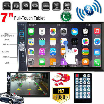 7'' Double 2 Din Bluetooth Car Stereo Radio Touch Screen MP5 AUX/USB/FM Player