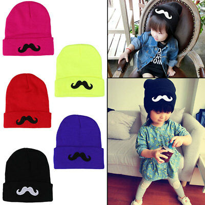 Girls Boy Child Baby Kids Ski Funny Mustache Winter Knitted Warm Beanie Hats Cap