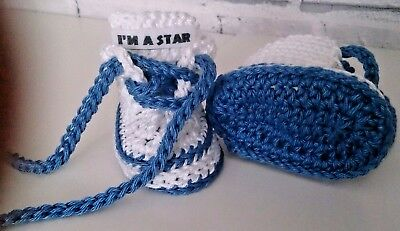 Baby Crochet Trainers Hand Made Shoes White Cotton