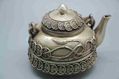 Chinese old Silver Handwork Carved Pattern teapot w Qing Dynasty Mark