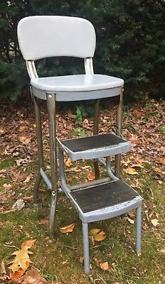 Vintage Retro Mid Century Rustic Industrial Step Stool Chair