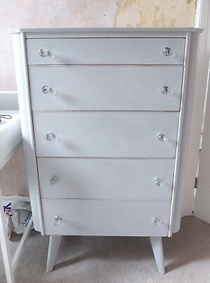 Vintage Retro 60s Mid Century Danish Style Grey Solid Wood Chest of 5 Drawers
