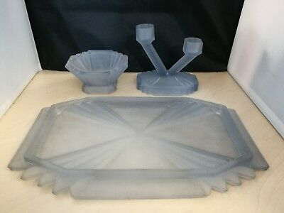 Frosted Glass Display Set Candle Holder Ashtray Trinket Tray Stand 30cm x 19cm