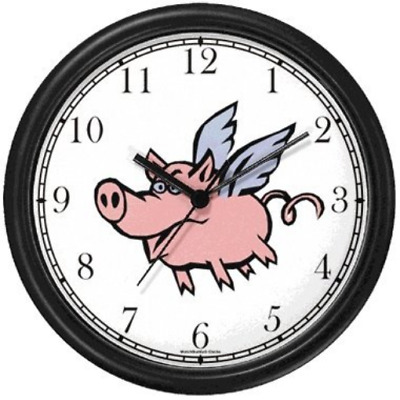 Angel Pig or Flying Pig with Wings Animal Wall Clock by WatchBuddy Timepieces