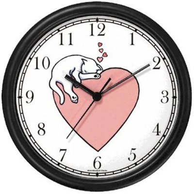 Cat Sleeping - Pink Heart - Cat Wall Clock by WatchBuddy Timepieces White Frame