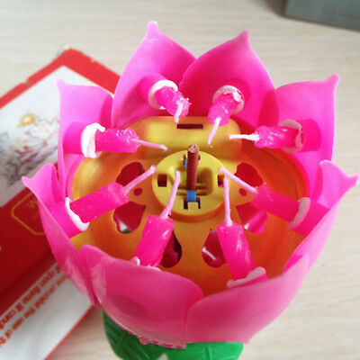 Creative Candles Magic Flower Party Happy Birthday Blossom Lotus Romantic Gift