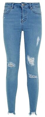 Ex New Look Ladies Girls Light Blue Denim Skinny Ripped Fray Hem Jeans Size 6-16
