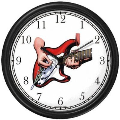 Electric Guitar Being Played - Musical Instrument - Music Theme Wall Clock by