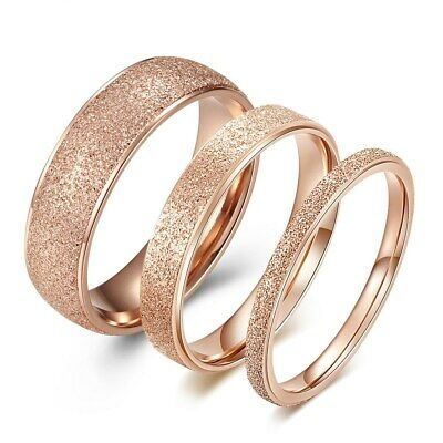 18K Rose Gold/Silver Tail Ring Men Women's Titanium Steel Couple Rings Size 4-9