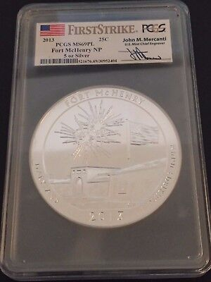 2013 PCGS MS69 PL FIRST STRIKE Fort McHenry NP 5 oz Silver ATB Mercanti