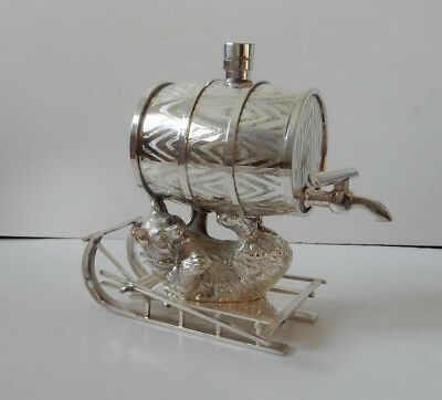 Silver-Plated Russian Drinks Decanter Barrell Depicting Bear on Sledge Stamped