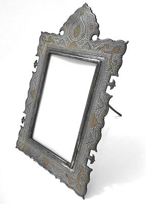 19th C Antique Gold & Silver Koftgari Inlaid Cast Iron Indo Persian Frame India