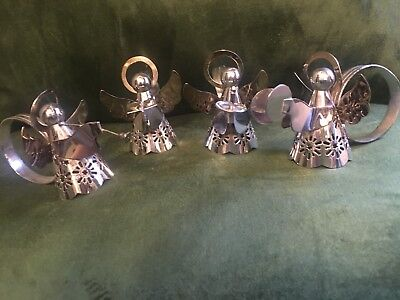Vintage Silver Plated Christmas Choir Angels Regal Quality Napkins Ring Holders