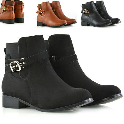 New Womens Chelsea Boots Elastic Flat Ladies Buckle Casual Stretch Ankle Booties