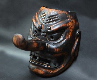 Antique Japanese TENGU OMEN ( long nose ) black Mask